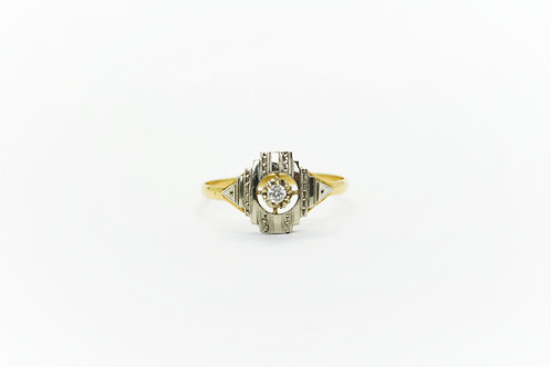 Patterned French Art Deco Diamond Ring