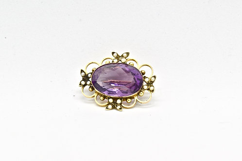 Seed Pearl and Amethyst Antique Brooch
