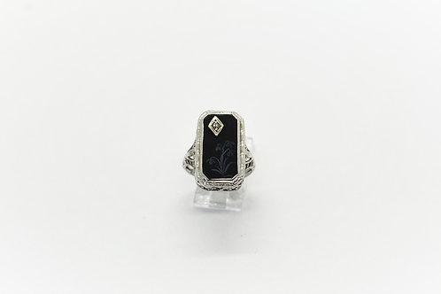 Unisex Engraved Onyx Filigree Ring