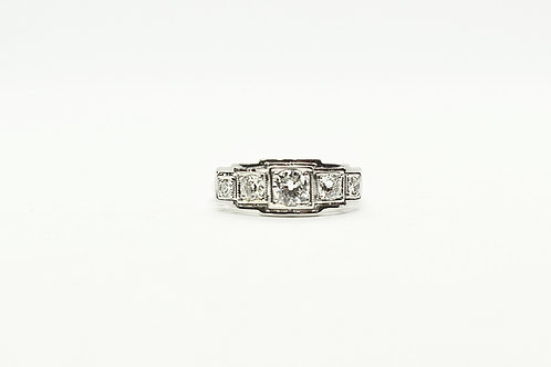 White Gold and Diamond Art Deco Style Ring