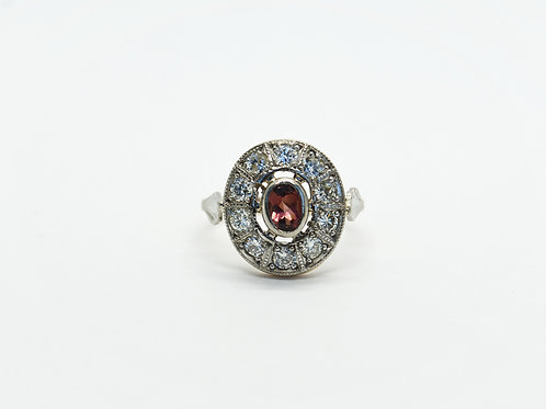 Russian Tourmaline Ring with Diamond Halo