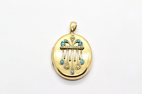 Gold Turquoise and Seed Pearl Antique Locket