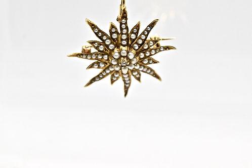 Edwardian Seed Pearl Starburst Pendant / Brooch