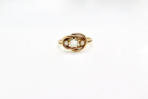 Lovers' Knot Rose Gold Opal and Pearl Ring c.1920
