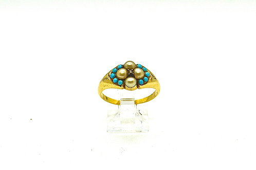 Turquoise, Pearl and Diamond Ring c.1840
