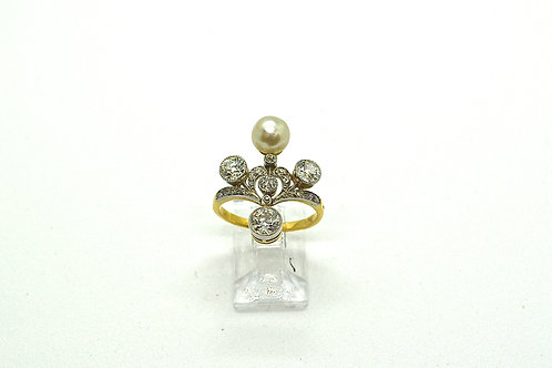 Art Nouveau Diamond and Natural Pearl Ring, c.1890