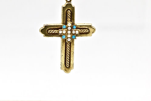 Turquoise and Seed Pearl Cross Pendant