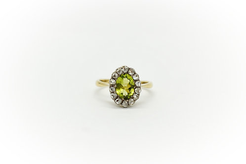 Antique Peridot and Old Cut Diamond Ring