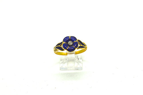 'Forget Me Not' Blue Enamel and Diamond Ring, c.1860