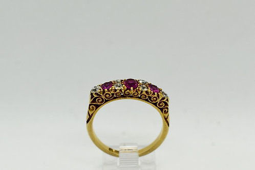 Ruby and Diamond Bridge Ring, London 1890