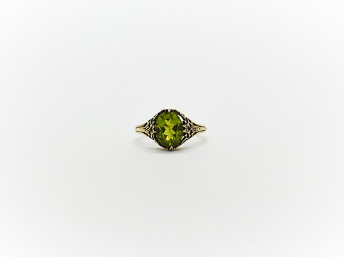 Double Claw Peridot Ring With Patina