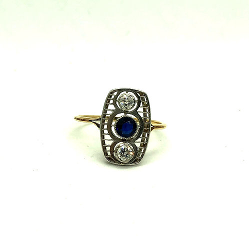 Sapphire and Diamond Original Art Deco Ring