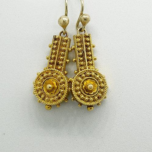 Gold Beaded Etruscan Style Earrings