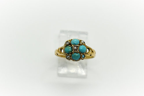 Victorian Turquoise and Seed Pearl Flower Ring