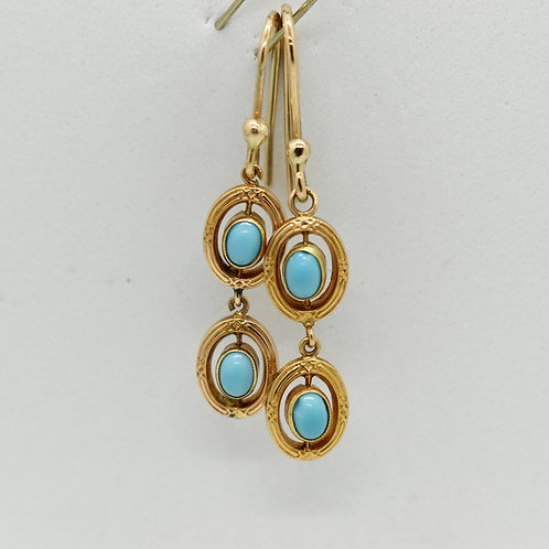 Antique Turquoise Glass Earrings
