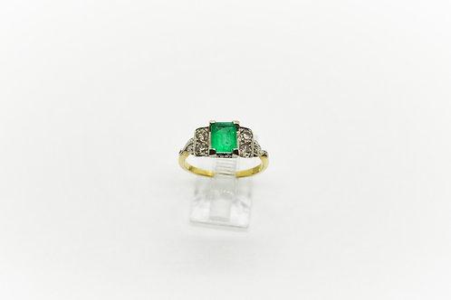 Original Art Deco Emerald and Diamond Dress Ring