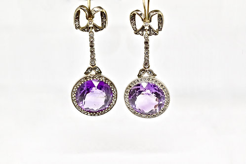 Russian Amethyst & Diamond Antique Earrings
