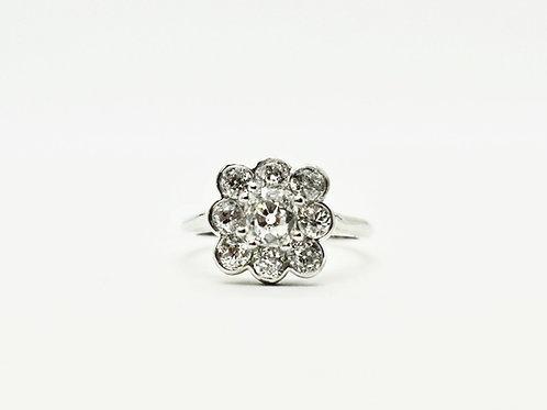 18ct White Gold Handmade Diamond Cluster Ring