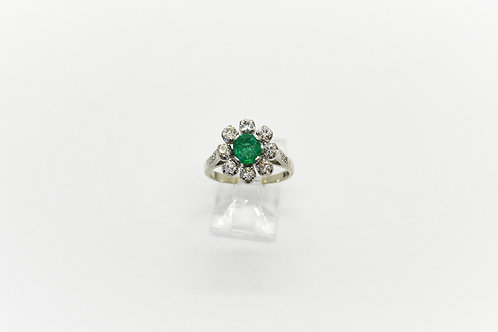 Vintage Emerald and Diamond Flower Cluster