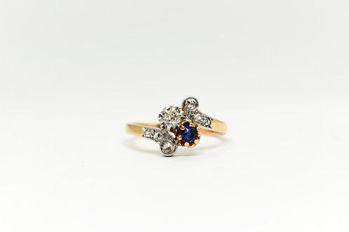 Sapphire and Diamond Toi et Moi Ring