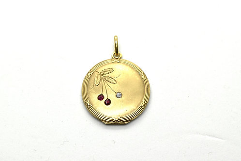 French Ruby and Diamond Gold Locket
