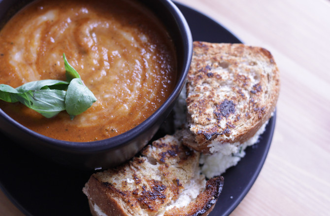 Foodie Files: Roasted Tomato Basil Soup with Ricotta Grilled Cheese
