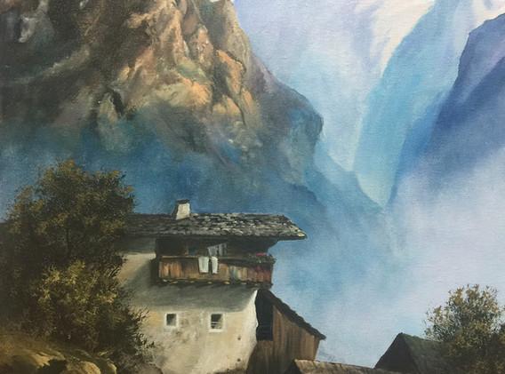 Einsamer Bergbauernhof nach Oskar Mulley