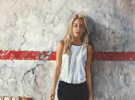 Junge Frau an einer Wand 90x50cm.JPG
