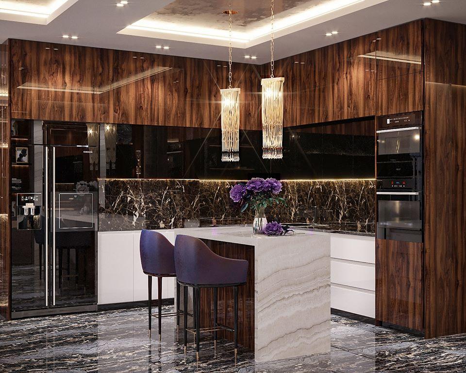 POWERFUL ACCENT. Дизайн интерьера квартиры с элементами дерева
