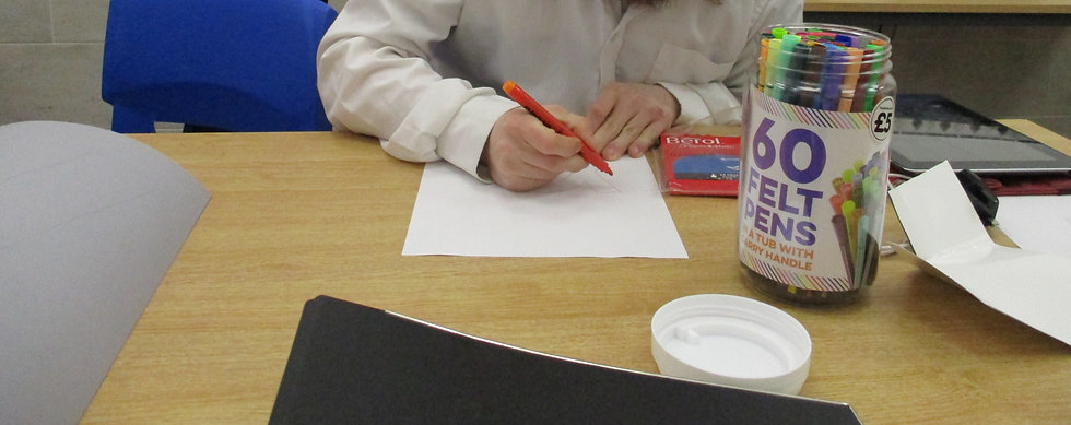 Person with learning disabilities learning how to write