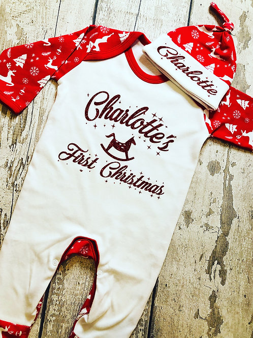 Christmas Baby Romper/Knotted Hat set