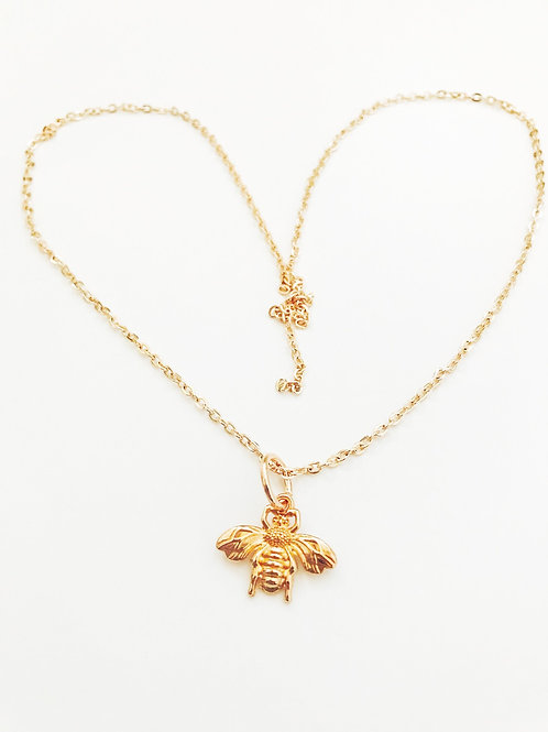 Vintage Rose Gold Plated Bee Necklace