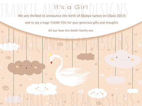 Quantity Packs: It's a Girl Swan Thank You/Announcement Cards /from £20 per pack