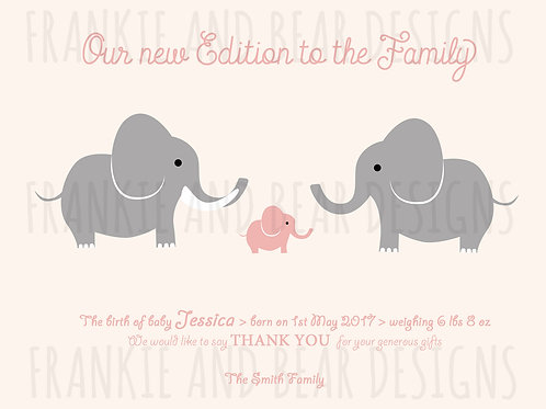 Quantity Packs: New Edition to the Family Elephant cards / from £20 per pack