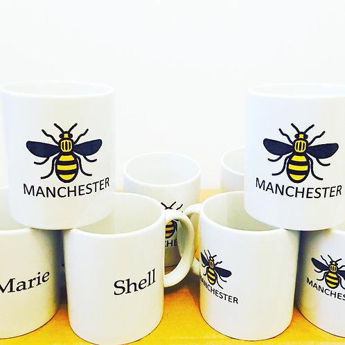 Manchester Bee - Personalised Name Mugs