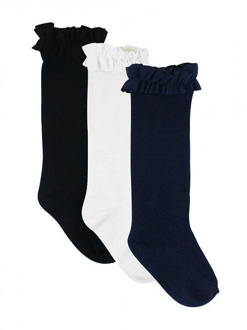Ruffle Butts 3 Pack White/Navy/Black Knee High Socks