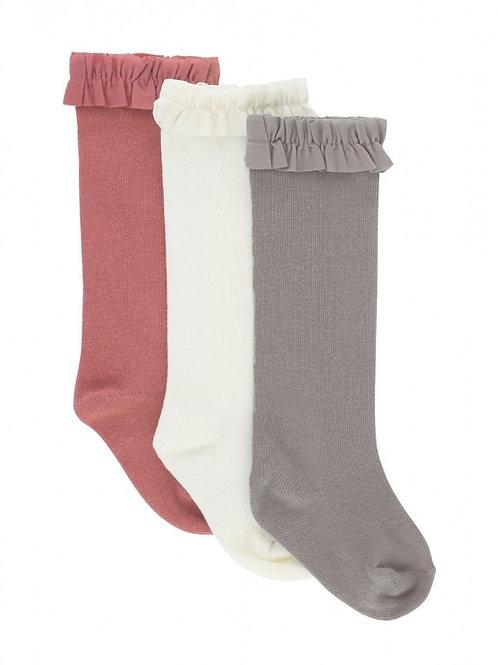 Ruffle Butts 3 Pack Ivory/Mauve/Gray Knee High Socks