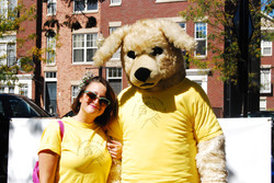 Sunny the Mascot and Heather Collins