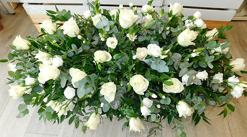 White Rose and Lisianthus Coffin Spray