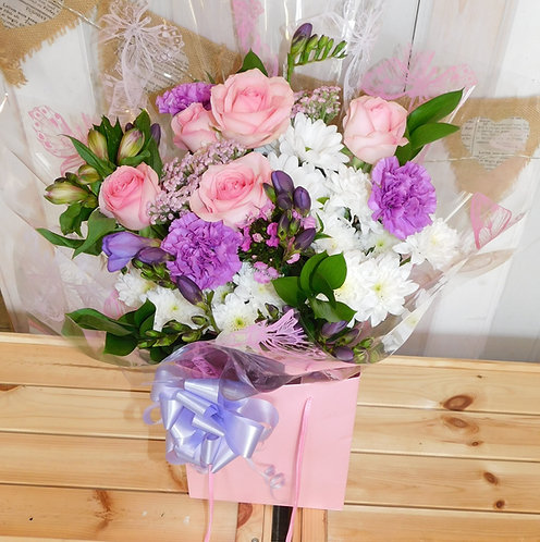 Pink Rose and Purple Carnation Bouquet