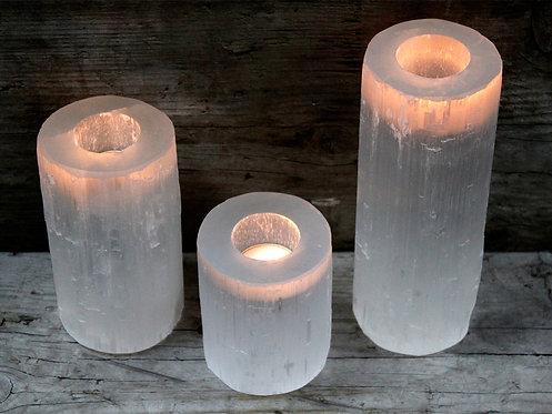 Selenite Cylinder Candle Holder