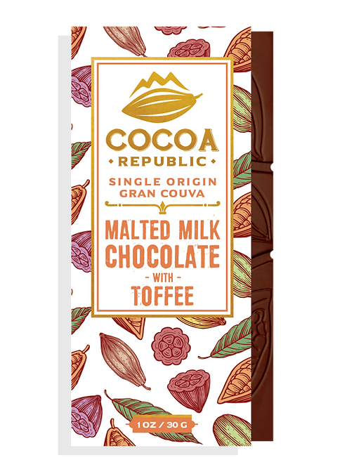 Cocoa Republic Malted Milk Chocolate with Toffee, Gran Couva, Trinidad