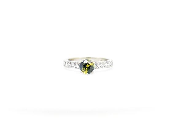 Australian  Teal Parti Sapphire & Diamond Ring