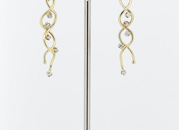 Yellow gold Tanzanite & Diamond Earrings