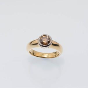 bezel set cognac champagne chocolate diamond solitaire ring