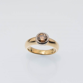 bezel set cognac champagne chocolate diamond solitaire ring