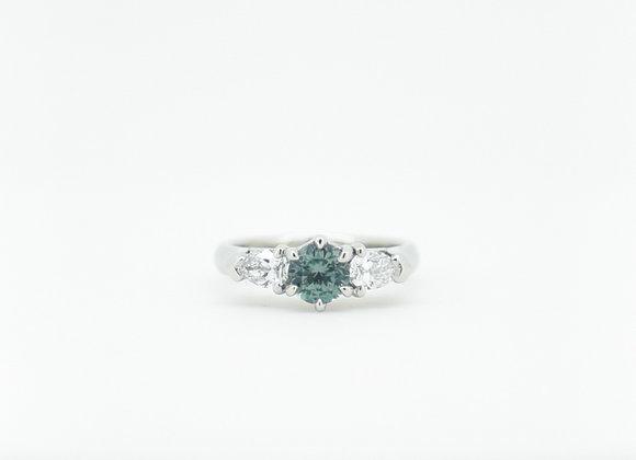 Montana Blue Sapphire & Diamond Trilogy Platinum Ring