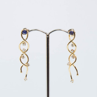 Tanzanite and Diamond Gold Earrings