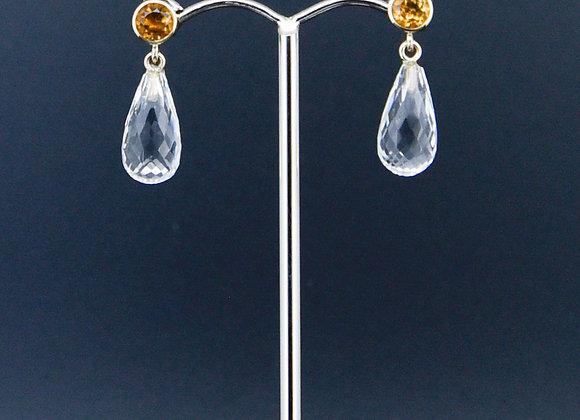 Citrine & Briole Quartz Yellow Gold Earrings