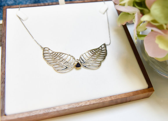 Sterling Silver Angel Wings Iolite Necklace